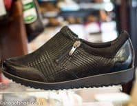 Alpina Val double zip soft black textured leather shoe. Available online with free postage or from our Whitchurch Hampshire shop between Basingstoke, Andover Winchester and Newbury Berkshire.